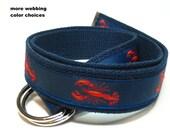 Lobster Belt / D-Ring Belt for Men / Nautical Canvas Belt / Preppy Ribbon Belt for Men Teens Big & Tall Men - Red Lobster on navy ribbon