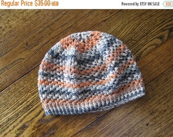 January Sale Tyger, Tyger Star Beanie Slouch Hat, hand knit in orange, white, black, and speckled stripes