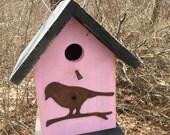 Birdhouse Functional Primitive Pink Rusty Bird Cutout