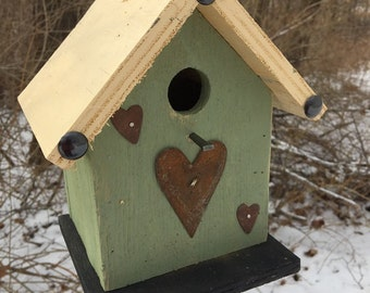Green Primitive Birdhouse with Rusty Hearts and Upholstery Tacks
