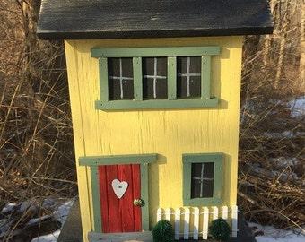 Primitive Birdhouse Folk Art Rustic Country Colonial Yellow Salt Box Garden Patio