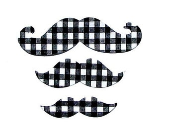 Moustache, Mustache, Fabric Iron On Appliques, Set Of 3 Moustaches, Mustache, Black Checked ,Fabric Iron On Appliques, Set Of 3