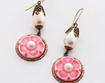 Cherry Blossom Earrings, Pink Floral Earrings, Sakura Earrings, Pearl Earrings, Springtime Jewelry, Pink Earrings, JewelryFineAndDandy SRAJD