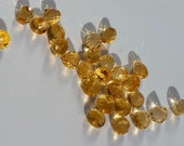 Citrine Beads Faceted Onion Candy Kiss Briolettes Gemstone Teardrops 4mm to 5mm x 6mm, Citrine Tear drops, Natural Orange (4 gems)