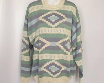 Southwestern Sweater Claiborne Pastel Ocean Birdseye Knit Pattern Blues Deadstock Men's Medium 48 Inch Chest Slouchy Unisex