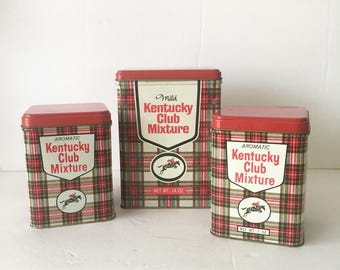 Kentucky Club Tobacco Tin Lot of Three Large and Small Instant Vintage Collection Red Plaid Tins