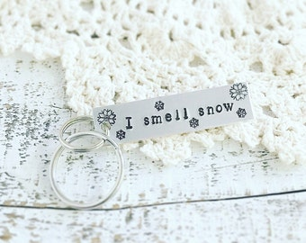 Gilmore Girls keychain, I smell snow Lorelai quote, Lorelai and Rory, Stars Hollow, Christmas keychain
