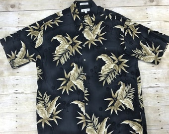 Vintage 1990s 90s Pierre Cardin Black Floral Print Hawaiian Aloha Shirt Mens Retro Hawaii Size Large