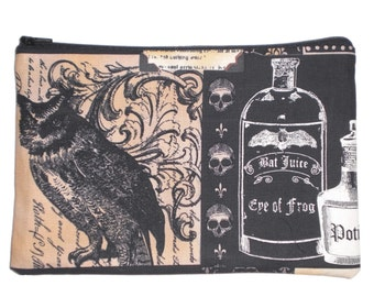 Victorian Gothic Skulls Owl and Potions Makeup Bag  Zipper Pouch Wallet Gadget Bag Clutch large Size 6X9 Inches