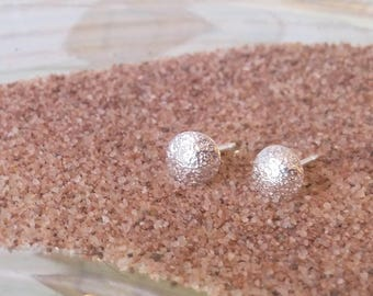 Sand Sterling Studs, Beach Wedding, Beach Bridesmaid Gift, Beach Bride, Sand Embossed