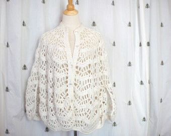 ON SALE!  Vintage Handmade White Crochet Cape Sweater, Button Front, Sleeve Opening, One Size, Boho