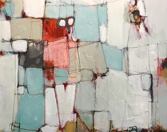Gliclée Canvas print by lori mirabelli painting modern abstract painting red gray 12x20