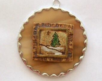 Winter scene Christmas ornament OOAK stained glass repurposed ornament
