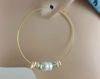 Gold hoop earrings 2 inch threader ultra thin lightweight gold plated wire with fresh water white pearls and light tan, sage and peach 842