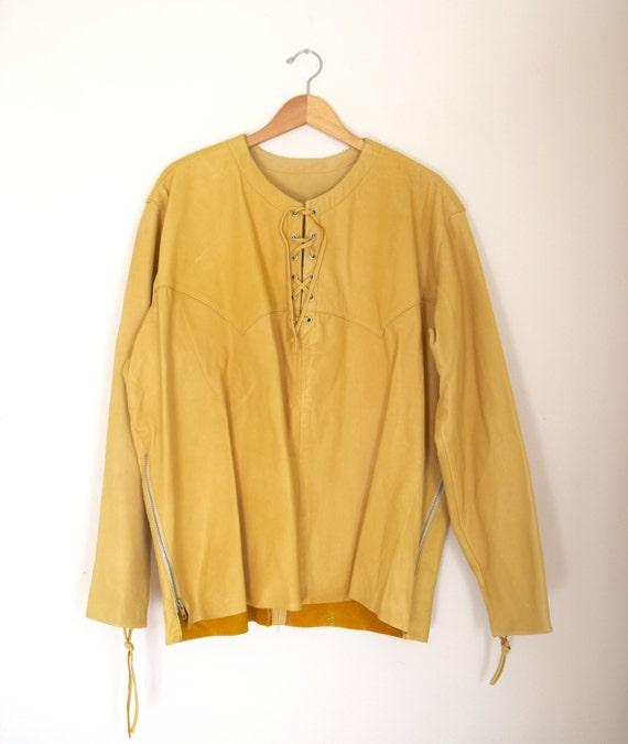Vintage 60s 70s Deer Skin Leather Long Sleeved Shirt (size large, xl)