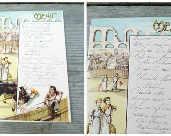 Vintage Antique  1919 French Menu /Menu sheet / Sport thema Corrida