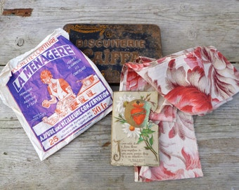 Antique 1900/1930 old French Set tin box cover/cotton fabric/ religious card