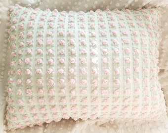 Pink rosebud vintage chenille throw pillow