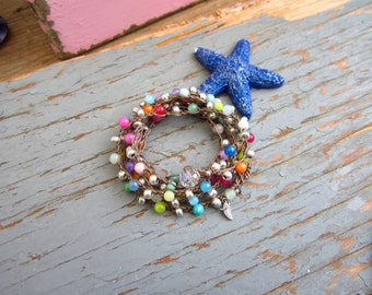 Oasis colourful boho jade and silver wrap bracelet/necklace, casual comfort