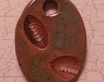 Custom Small Handmade Clay Pottery Pendant Charm or Mini Ornament - Choose Shape and Color - FOOTBALLS