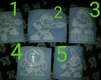 SHIPS FREE! Megaman Vinyl Decals Mega Man Ice Man Cut Man Old School 8bit