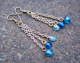 Eco-Friendly Dangle Earrings - Rhapsody in Blue - Recycled Vintage Goldtone Chain and Glass Beads in Three Intense Shades of Blue