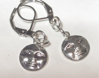 Full Moon earrings handmade detailed silver tone for pierced ears nickel free