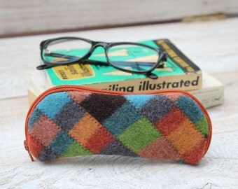 Felted Wool Glasses Case Colorful Patchwork Glasses Case in Browns Rust Orange and Greens