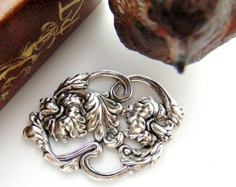 ANTIQUE SILVER  * Leaf and Flower Scroll - Victorian Scroll Leaf Stamping ~ Jewelry Findings (FB-6044)