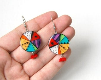 Geometric corolful circle dangle earrings, Circus earrings, colorful pattern jewelry