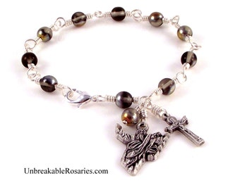 God The Father Rosary Bracelet in Smoky Black Czech Glass w Gold Marea Finish by Unbreakable Rosaries