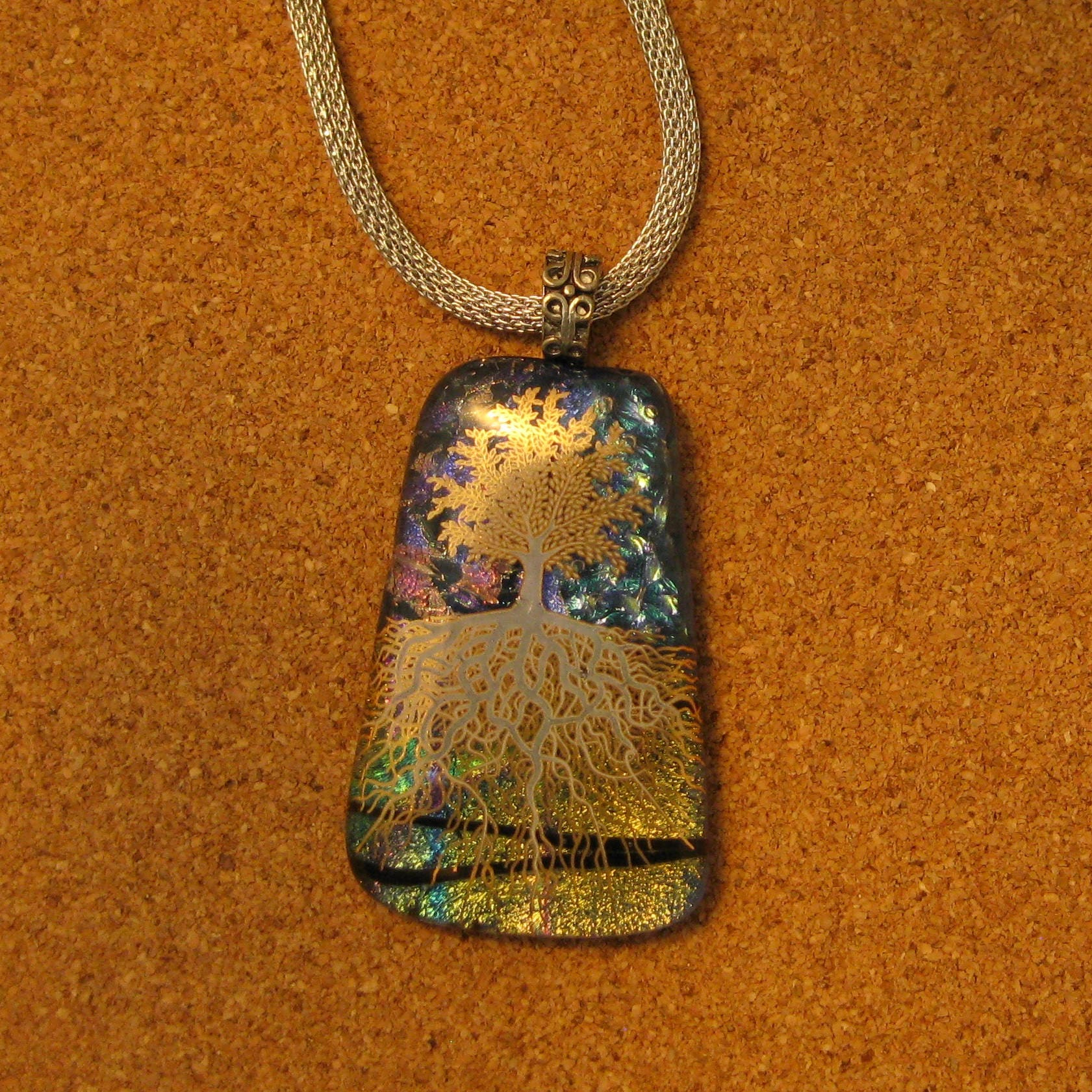 fullxfull pendantfused gold jewelry pendant and pendantdichroic il textured glass black fused necklace purple p dichroic