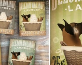 Belgian Malinois dog Laundry Company basket illustration art on canvas by stephen fowler