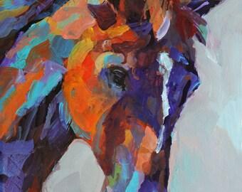 Colorful Horse Art Print of Original Acrylic Painting 8x10