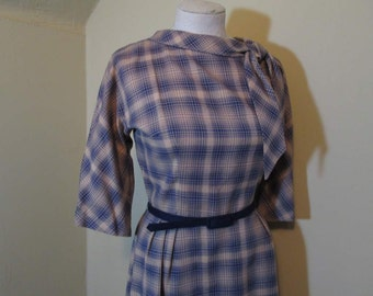 60s Royal Blue Plaid dress Vintage plaid bow tie Dress Blue and Camel roll collar 60s L'aiglon dress Tailored plaid dress  L