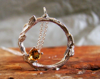 Citrine Pendant Twig Necklace Sterling Silver Wreath Necklace Botanical Jewelry November Birthstone Jewelry