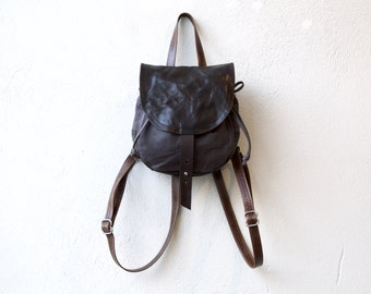 LITTLE CINCH PACK - small dark brown leather & waxed canvas backpack lined in red waxed canvas