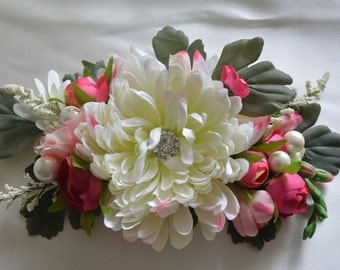 Flower Hair Clip, Bridal Hair Accessory, Bridal Hair Comb, Hairpiece, Wedding Accessory, Spring Flower Clip, White, Bright Pink, Mum