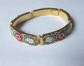 Vintage Micro Mosaic Flower Leaves Colorful Bracelet Italy Gold tone