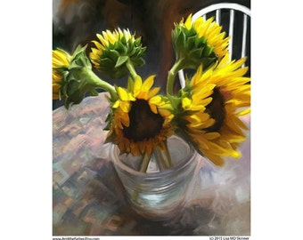 Sunflowers in a Vase - summer flowers -  Floral Art Print