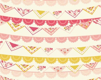 Vintage Daydream fabric, Cotton fabric by the Yard, Pink fabric, Riley Blake Designs, Vintage Banners in Cream, Choose your cut