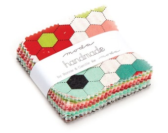 20% off Precuts SALE fabric, Handmade Collection Mini Charm Pack, Bonnie and Camille by Moda, 2.5 inch squares of Entire Line, Mini Charms