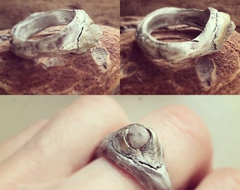 Days of Thunder hand sculpted twig ring w 1 ct platinum colored rough diamonds size 7
