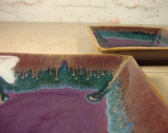 Square Tapas Plates * Stoneware Tapas Plates * Set of Two Handmade Pottery Tapas Plates