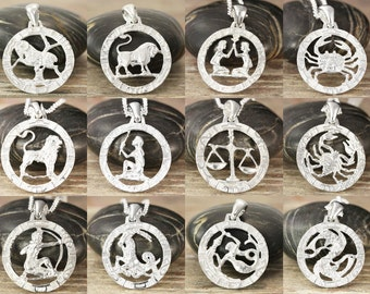 Choose your zodiac pendant in sterling sliver - All 12 zodiac signs available - Chains - Polished, matte satin or antiqued - 1 inch round