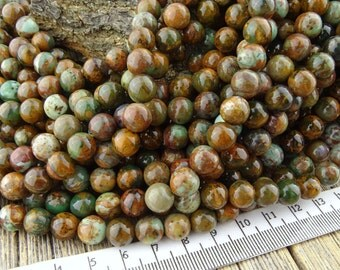 8mm Green Opal Beads, African Opal Beads, Green Common Opal Beads, Smooth Round, Green Brown, Natural Common Opal 8 mm