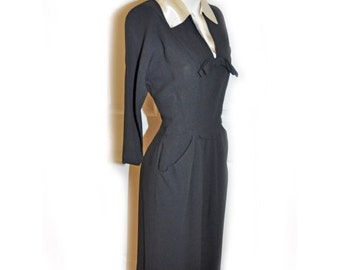 1950's R & K Originals Black Crepe Wiggle Dress
