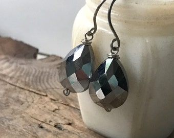 Gray Crystal Teardrop Earrings Silver Jewelry Vintage Style Pewter Holiday Jewelry Bridesmaid Jewelry New Years Gifts Under 30