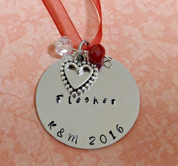 Custom Hand Stamped Name and Initial Christmas Ornament