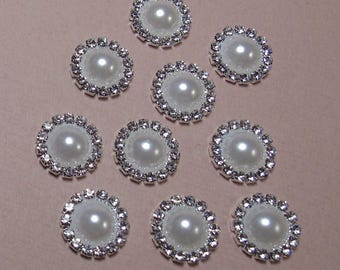 15mm Flat Back Rhinestone Pearl Embellishment 10 pack